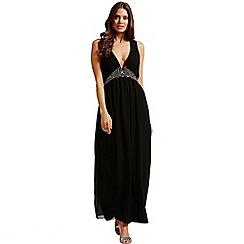 Little Mistress - Black chiffon embellished maxi dress