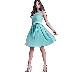 Little Mistress - Sage blue mesh insert embellished dress
