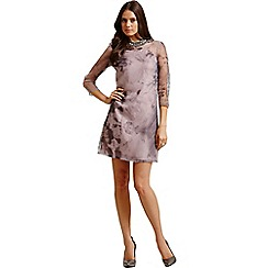Little Mistress - Muted floral long sleeved tunic dress