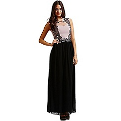 Little Mistress - Mink embellished front lace insert maxi dress