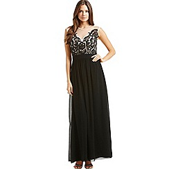 Little Mistress - Black and nude embroidered maxi dress