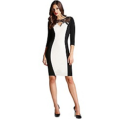 Little Mistress - Cream and black lace front cross over dress
