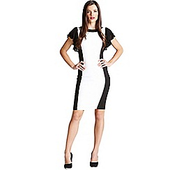 Paper Dolls - Cream and black panel frill sleeve dress