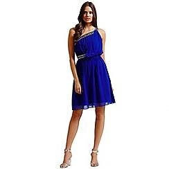 Little Mistress - Blue embellished one shoulder prom dress