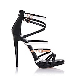 Little Mistress - Theia black, white and gold strap sandals