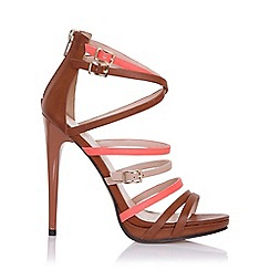 Little Mistress - Theia tan, coral and beige strap sandals