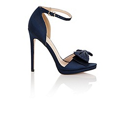 Little Mistress - Hera navy satin heeled sandals with bow