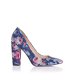 Little Mistress - Asteria navy floral embellished block heel court
