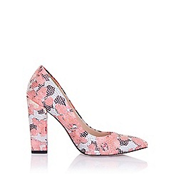 Little Mistress - Asteria coral floral embellished block heel court