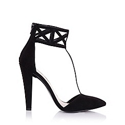 Little Mistress - Artemis black geometric cuff heels