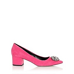 Little Mistress - Ananke pink brooch mid court shoe