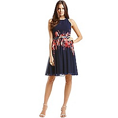 Little Mistress - Navy blurred floral belted fit and flare dress