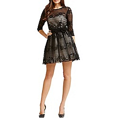 Little Mistress - Black floral stripe lace dress