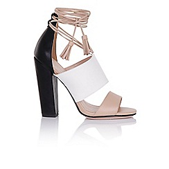Paper Dolls - Nixie tan and white sandals with tassels