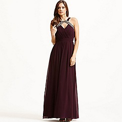 Little Mistress - Purple embellished halter maxi dress
