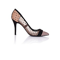 Paper Dolls - Orla black sheer court with gunmetal toe cap