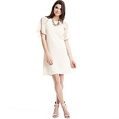 Paper Dolls - Cream glitter lace sleeve dress