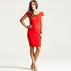 Paper Dolls - Red off shoulder cut out dress