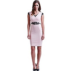 Paper Dolls - Pink and black cut out lace dress
