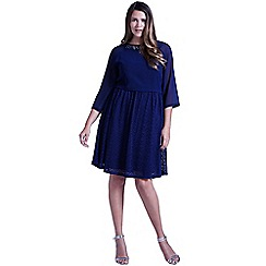 Little Mistress - Navy chiffon and lace 2 in 1 embellished dress