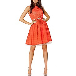 Little Mistress - Red lace overlay belted fit and flare dress