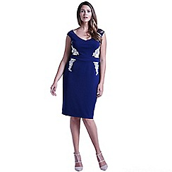 Little Mistress - Curvy navy bardot floral side dress