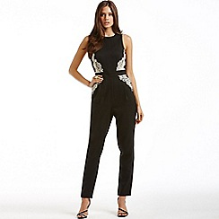 Little Mistress - Black and white floral side jumpsuit