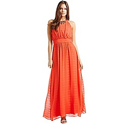 Little Mistress - Coral textured chiffon embellished maxi dress