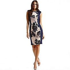 Little Mistress - Navy panelled floral front dress