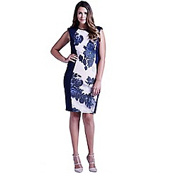 Little Mistress - Curvy navy panelled floral front dress