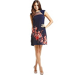 Little Mistress - Navy blurred floral shift dress