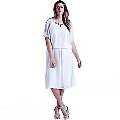 Little Mistress - Curvy white sheer layered a line skirt