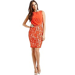 Little Mistress - Orange chiffon and lace drape front dress