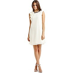 Little Mistress - Cream chiffon embellished drape shoulder dress
