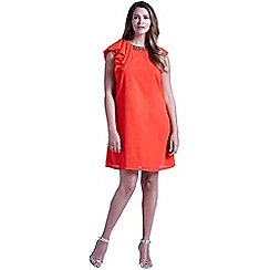 Little Mistress - Curvy coral chiffon embellished drape shoulder dress