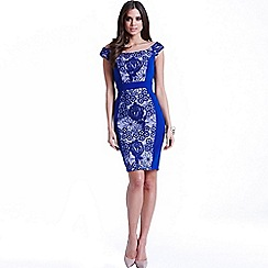 Little Mistress - Blue floral overlay bodycon dress