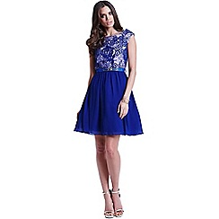 Little Mistress - Blue floral overlay fit and flare dress