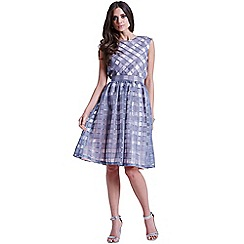 Little Mistress - Grey and pink organza gingham bardot dress