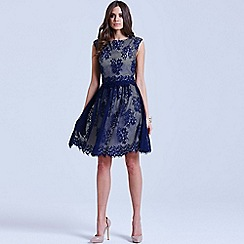 Little Mistress - Navy lace overlay 2 in 1 dress