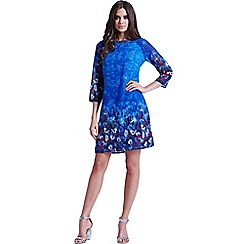 Little Mistress - Blue water paint floral tunic dress