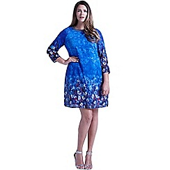 Little Mistress - Curvy blue water paint floral shift dress