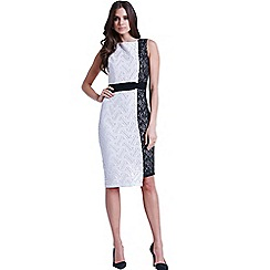 Little Mistress - Black and cream geo lace two tone wiggle dress