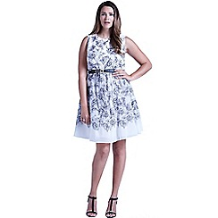 Little Mistress - Curvy grey and white illustrated floral fit and flare dress