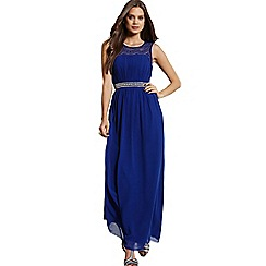 Girls On Film - Cobalt lace and embellished maxi dress