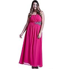Little Mistress - Curvy pink floral embellished bandeau maxi dress