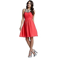 Little Mistress - Coral embellished mesh detail dress
