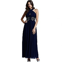 Little Mistress - Navy wrap neck leaf embellished maxi dress