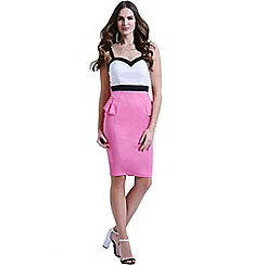 Paper Dolls - White, pink and black peplum dress