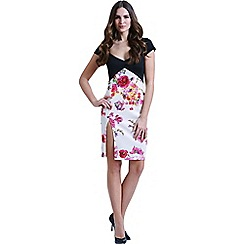 Paper Dolls - Two in one black and floral bodycon dress