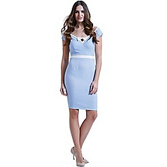 Paper Dolls - Blue v front polka dot dress with bow detail